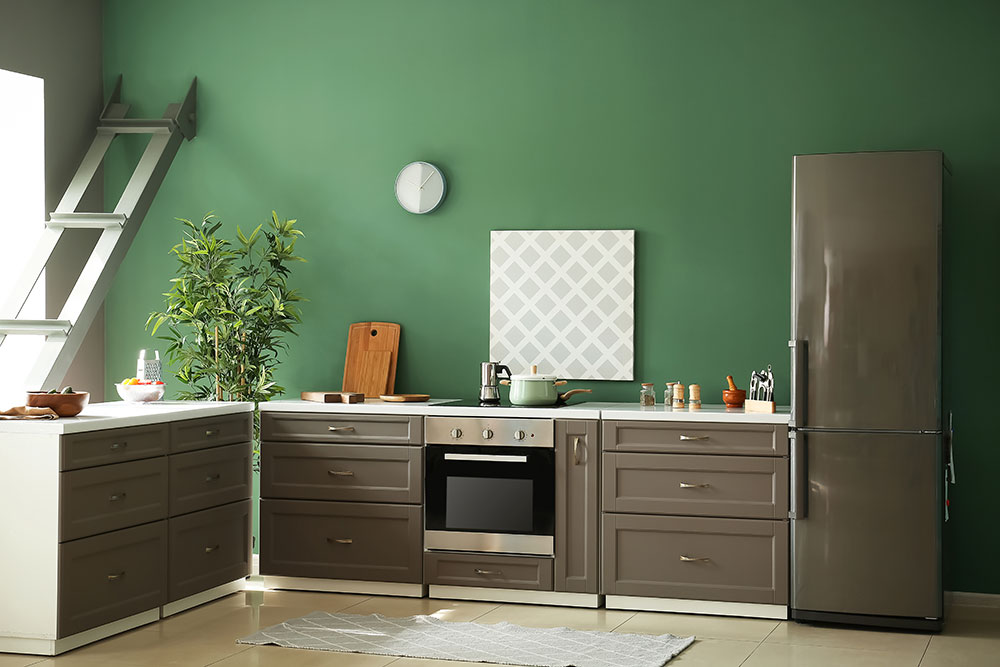 Forest green kitchen wall