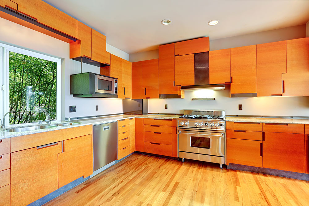 Kitchen with tangerine cabinets steel appliances