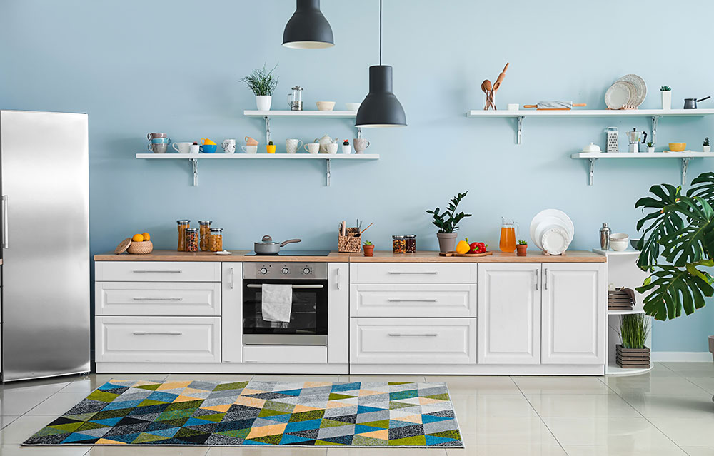Pale blue comfortable kitchen wall color