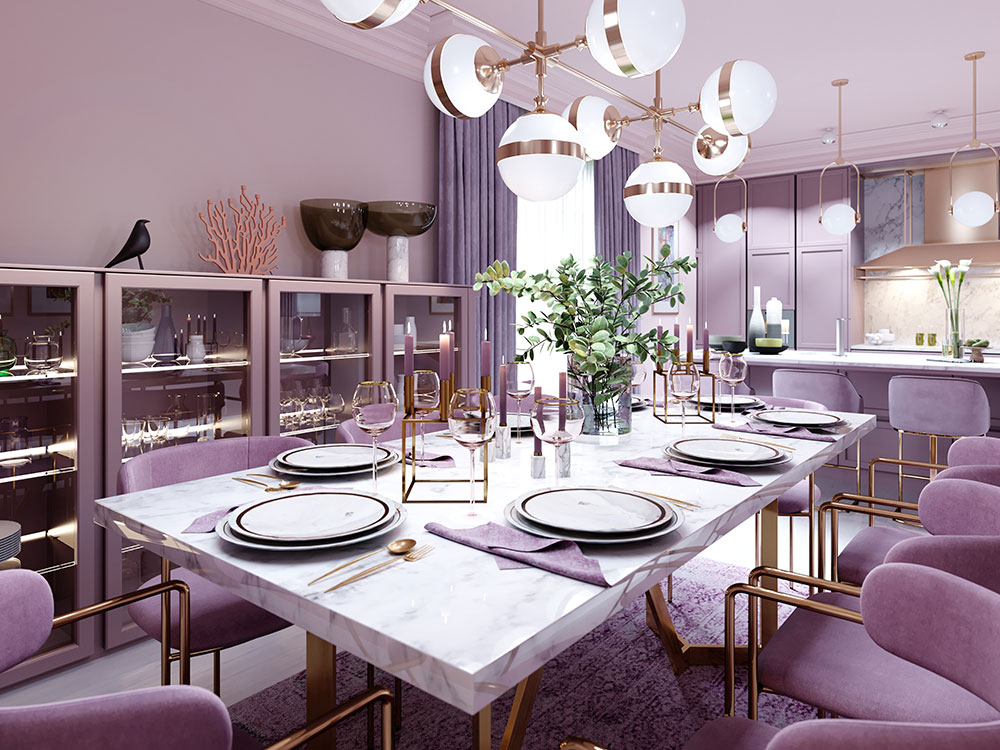 Pale lilac kitchen with modern furniture