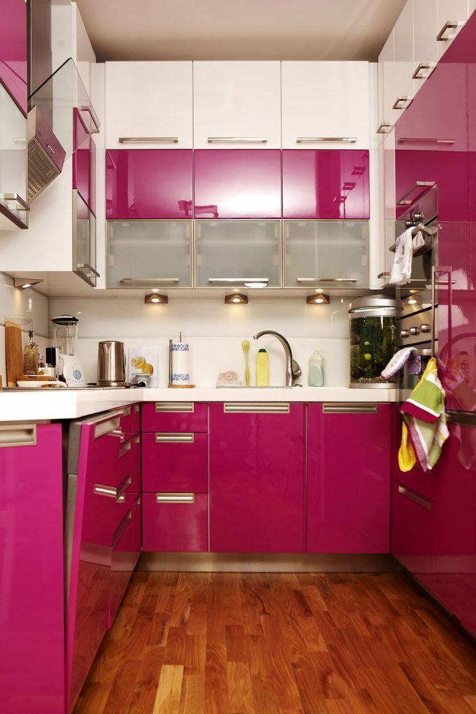 Poppin pink contemporary kitchen