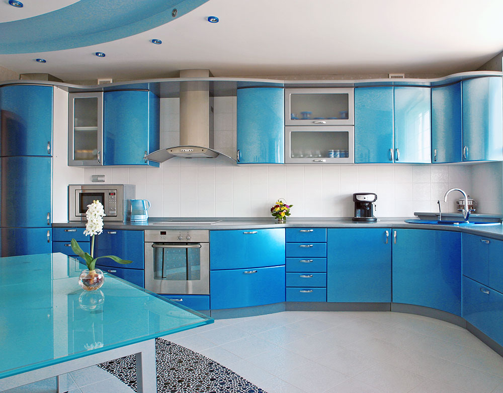 Sky blue kitchen theme with cupboard