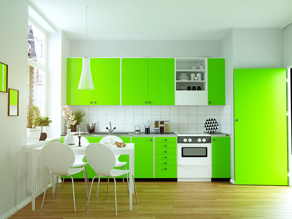 Spring green in cabinets