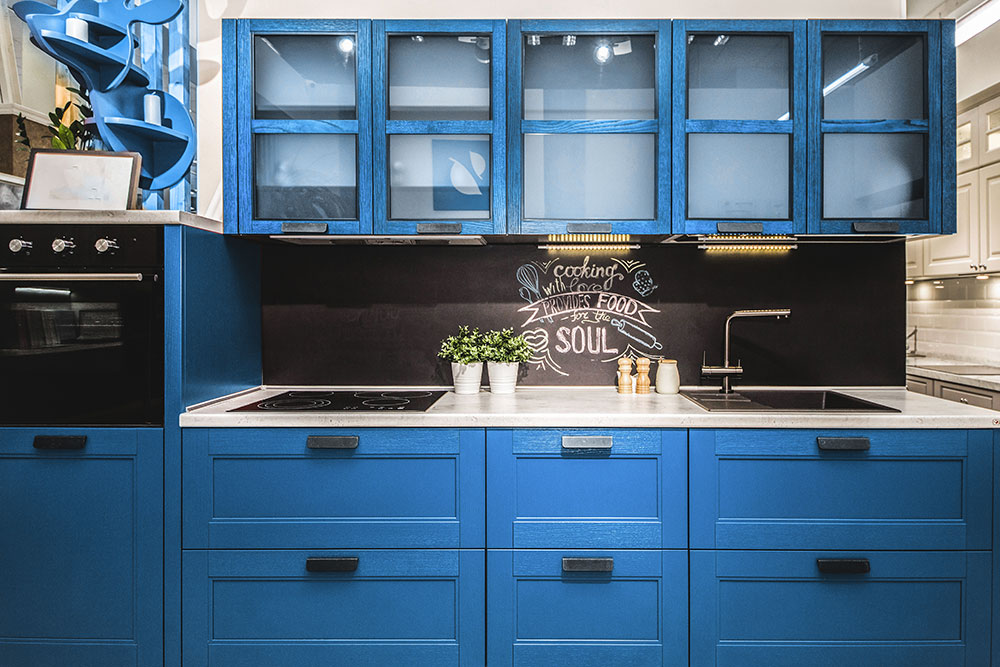 True blue kitchen cabinets color