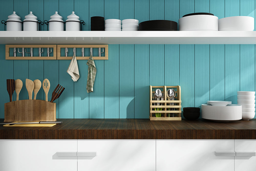 Turquoise color kitchen counter